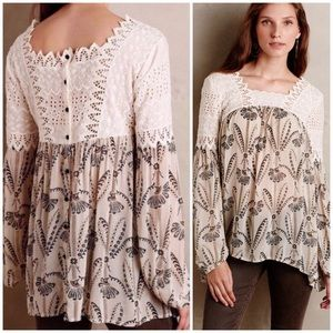 Anthropologie Floreat Cantata Peasant Top size 6